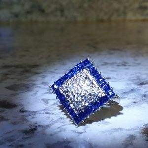 Sapphire Silver womens cocktail ring
